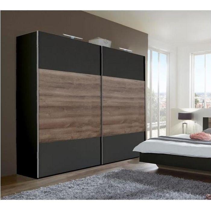 Armoire EVA portes coulissantes largeur 225 cm graphite / chêne châtaigne noir Bois Inside75