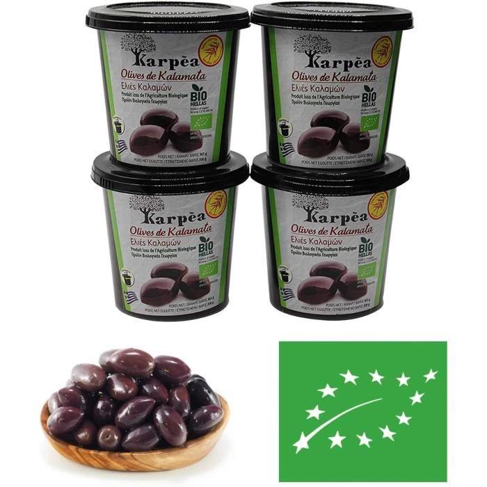 Olives kalamata bio- lot de 4 - olives a la grecques - recette grecques