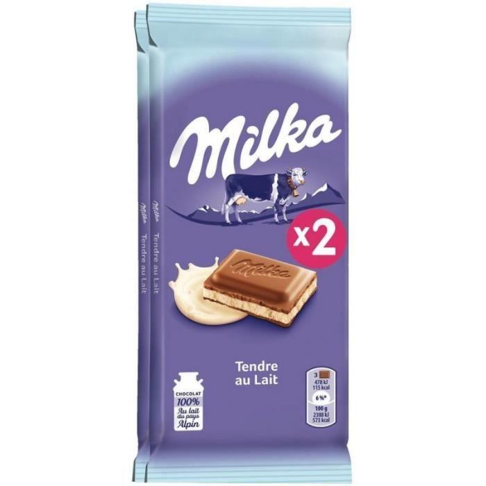 Milka Tendre au Lait 2x100g (lot de 3 soit 6 tablettes)