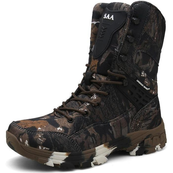 Chaussures de Randonnée Hommes Bottes Militaire Cuir Patrouille Combat Armée Tactique Recrues Armée Désert Sécurité Militaire