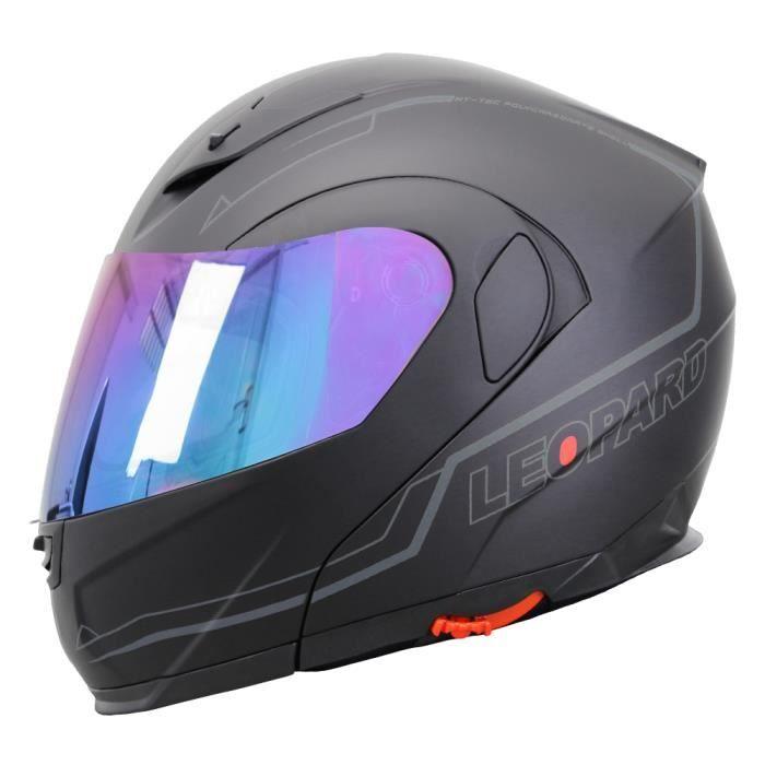 A-pro Casque Homologu/é Integral Moto Scooter Pare-soleil int/égr/é Touring Blanc M
