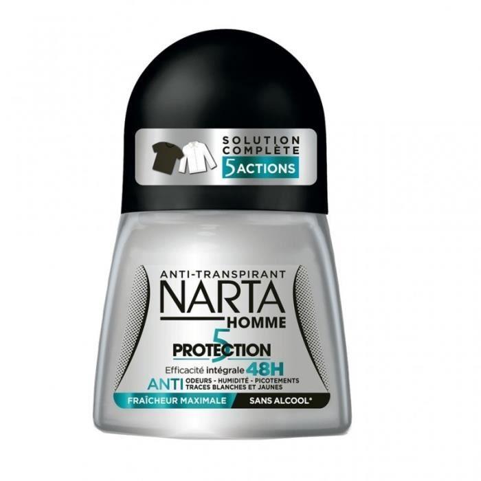 Narta Homme Roll-on Anti-Transpirant 5 Actions Efficacité 48h Fraîcheur Maximale 50ml (lot de 4)