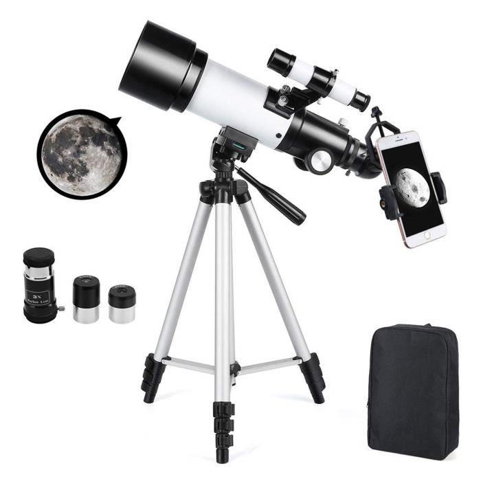 Télescope Astronomique Zoom HD 400-70 mm Plage de Grossissement Elevé avec Trépied, Portable, Équipé d'un Sac à Dos et d'un Adaptate