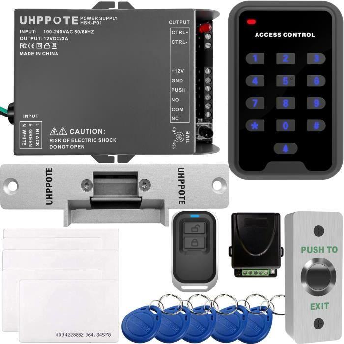 UHPPOTE Kit de Contrôle d'Accès Pour Une-porte Avec 125KHz RFID EM ID Clavier et Serrure Électrique Télécommande Bouton d'Exit