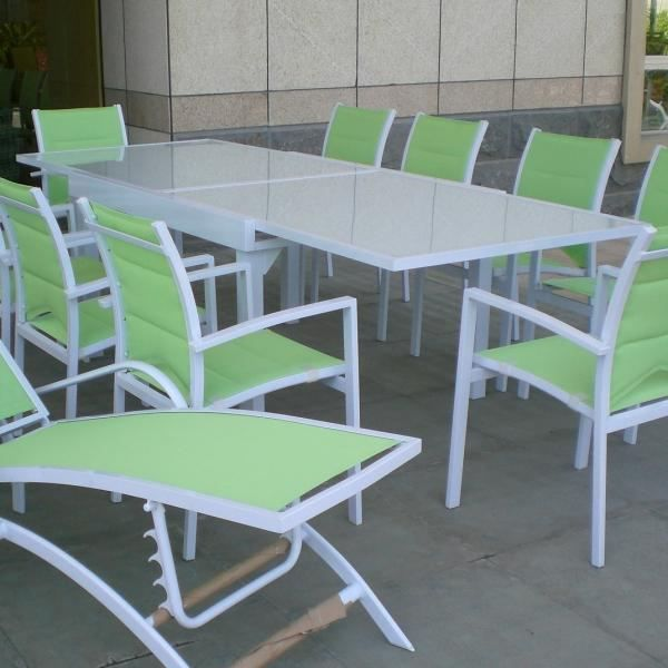 Table modulo blanche 6 10 personnes achat vente table for Table jardin 8 personnes