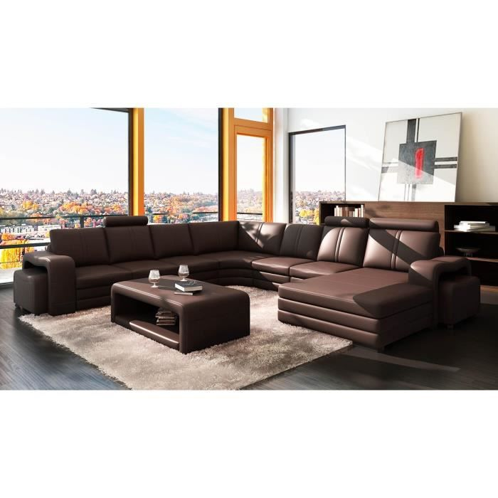 canap d 39 angle panoramique cuir marron 10 places h achat vente canap sofa divan. Black Bedroom Furniture Sets. Home Design Ideas