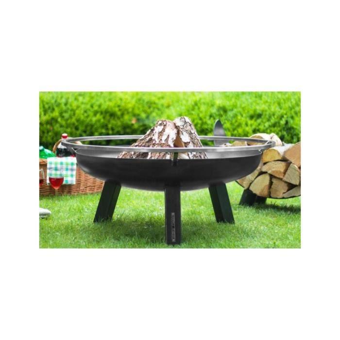 Brasero De Jardin Porto En Acier Noir 60 70 80 Et 100cm Sans