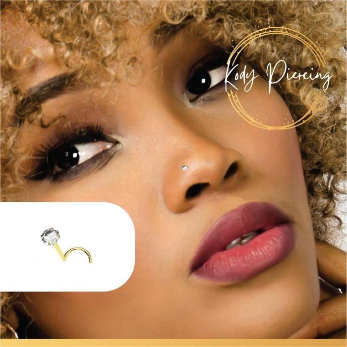 14K ou 9K Or massif 6 mm Zircone Cubique Fleur Nez Stud Nez Anneau Nez Piercing Bijoux