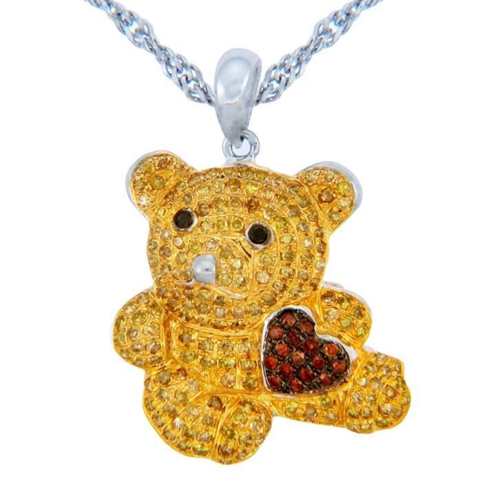 Pendentif10 ct 471/1000 de Diamants Or Teddy Bear with Pendentif Coeur en couleur