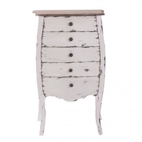 chiffonnier de charme en bois vieilli patine blanche et plateau naturel vical home achat. Black Bedroom Furniture Sets. Home Design Ideas