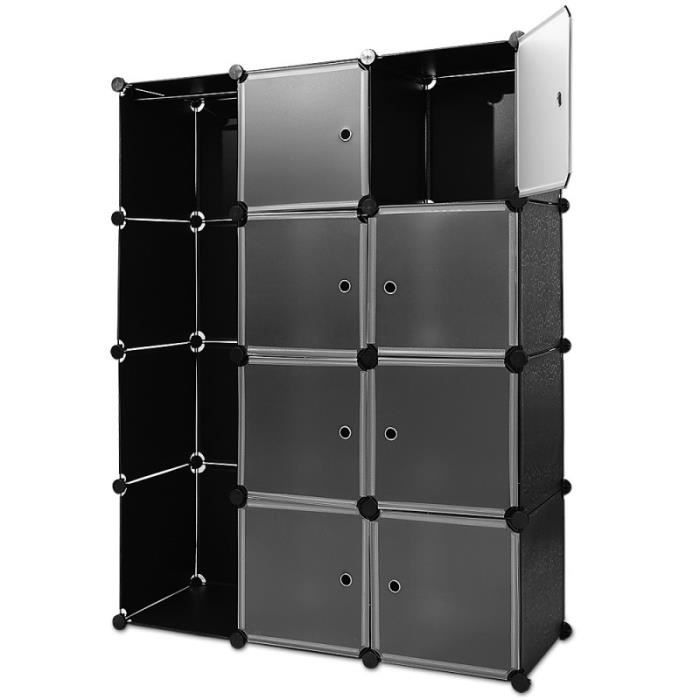 etag res armoire penderie noir rangement plastique 8 casiers 1 tringle syst me clip achat. Black Bedroom Furniture Sets. Home Design Ideas