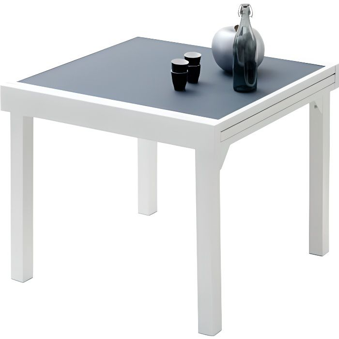 Table de jardin carr e extensible aluminium blanc et verre Table carree extensible design