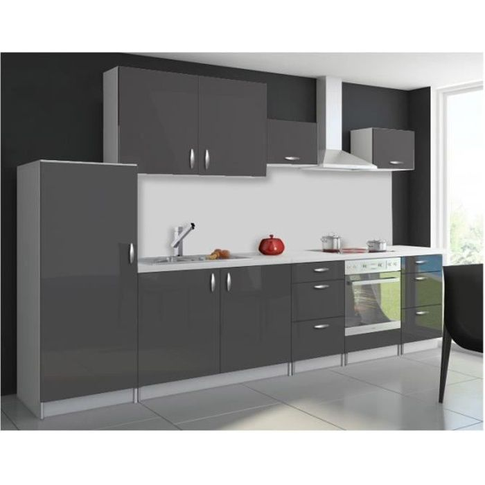 cuisine compl te 320 cm oxin laqu e gris brillant pas cher achat vente cuisine compl te. Black Bedroom Furniture Sets. Home Design Ideas