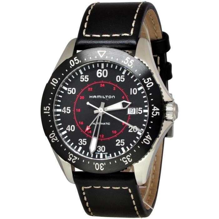 fef271876 HAMILTON KHAKI AVIATION HOMME 44MM BRACELET CUIR AUTOMATIQUE MONTRE ...