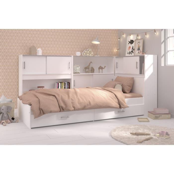scoop lit enfant avec 3 meubles de rangement conte