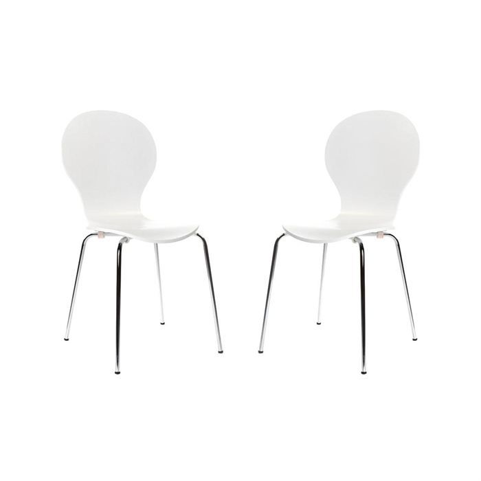 2 chaises design empilables blanches new abigail achat - Chaises empilables design ...
