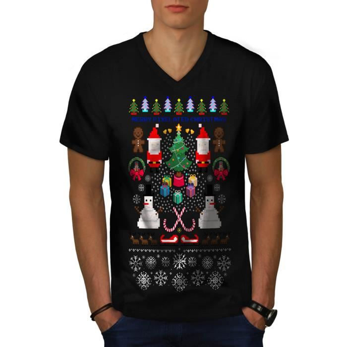 Père Noël Bonhomme De Neige Noël Pixel Père Noël Men S 2xl T Shirt à Sonnerie Wellcoda