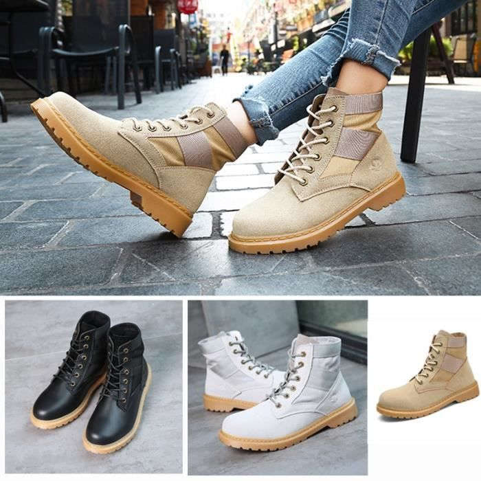 Botte Femme femmes Tendance Fashion High Top Roung Toes Skater Martinblanc taille5.5