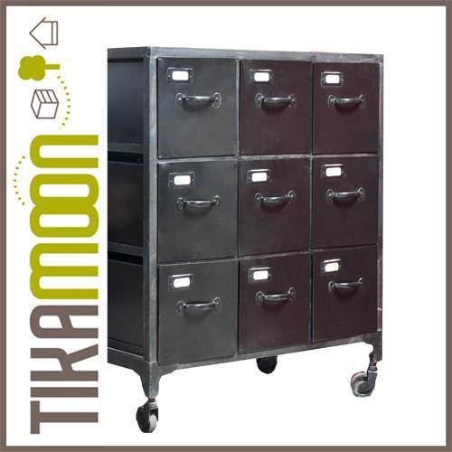 commode en m tal 9 tiroirs industriel achat vente commode de chambre commode en m tal 9. Black Bedroom Furniture Sets. Home Design Ideas