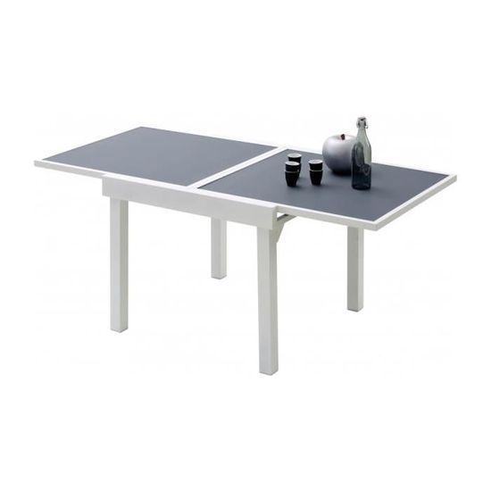 Table de jardin carrée extensible aluminium blanc et verre ...