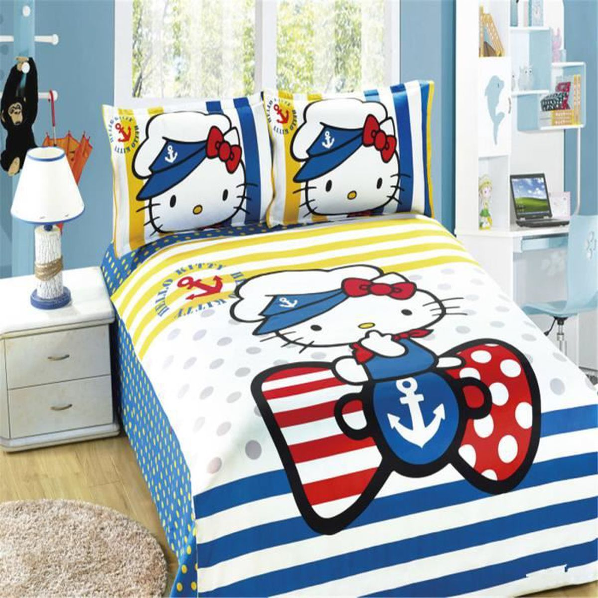 parure de lit parure de couette hello kitty enfant 100 coton 1 housse de couette 140x200cm 1. Black Bedroom Furniture Sets. Home Design Ideas