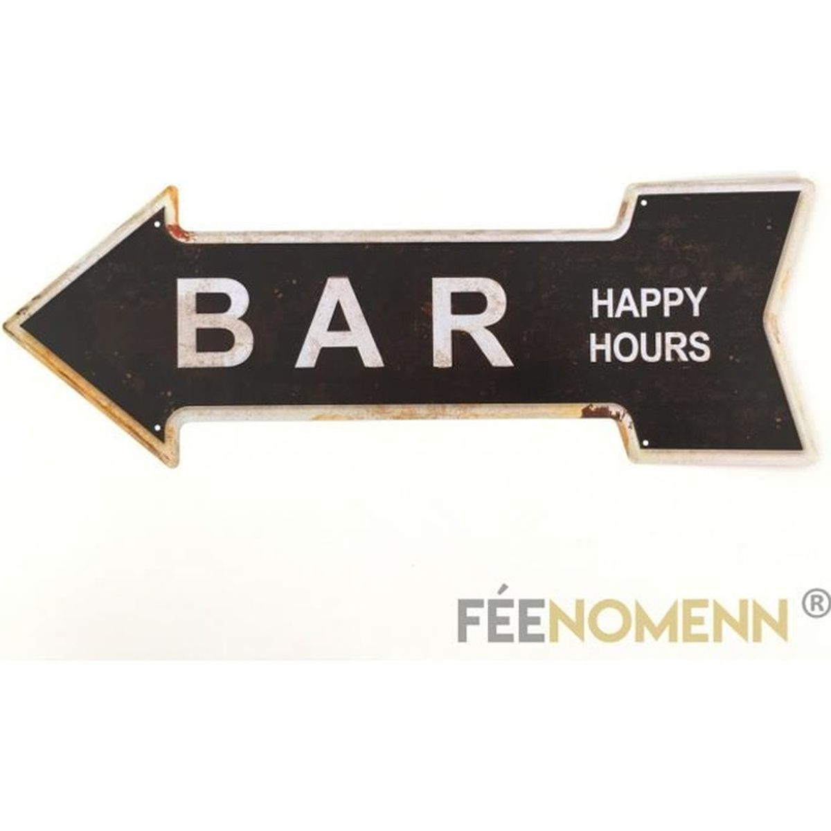 plaque m tal d co vintage bar happy hours 16x45cm achat vente objet d coration murale. Black Bedroom Furniture Sets. Home Design Ideas