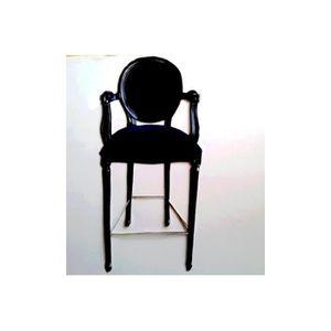 CHAISE Chaise de bar médaillon velours noir