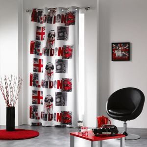 rideau gris et rouge achat vente rideau gris et rouge pas cher cdiscount. Black Bedroom Furniture Sets. Home Design Ideas