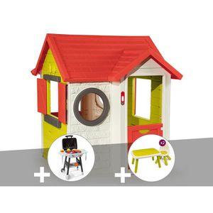 MAISONNETTE EXTÉRIEURE Cabane enfant My House - Smoby + Plancha + Table e