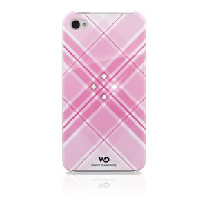 COQUE - BUMPER Coque iPhone 4  white diamond rose motif grid