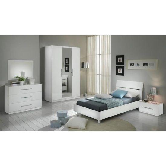 Chambre à coucher modèle GLORIA BLANCHE LAQUEE ARMOIRE 3P ET ...