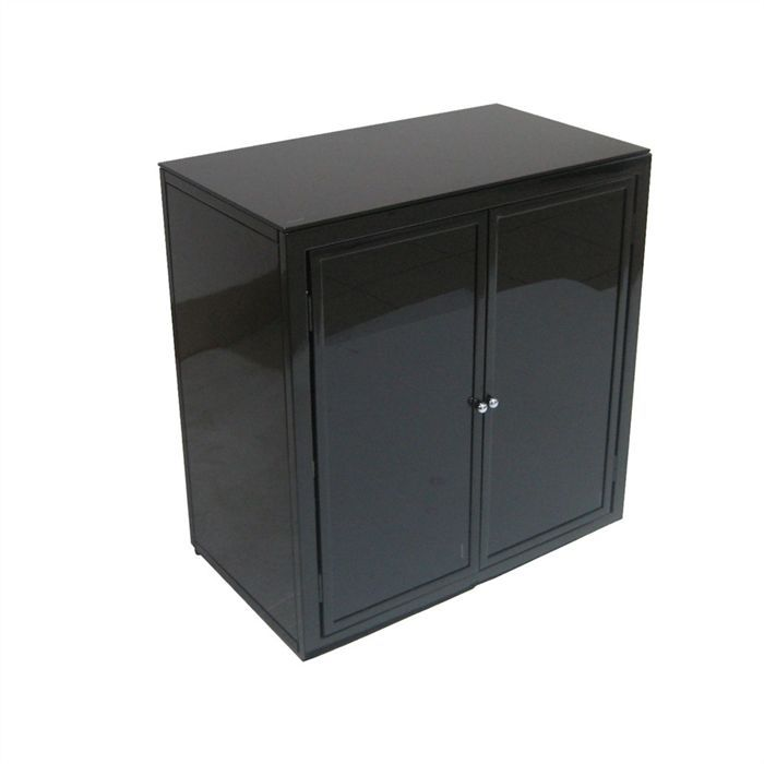 meuble bas structure m tallique laqu e noir achat vente bureau meuble bas cdiscount. Black Bedroom Furniture Sets. Home Design Ideas