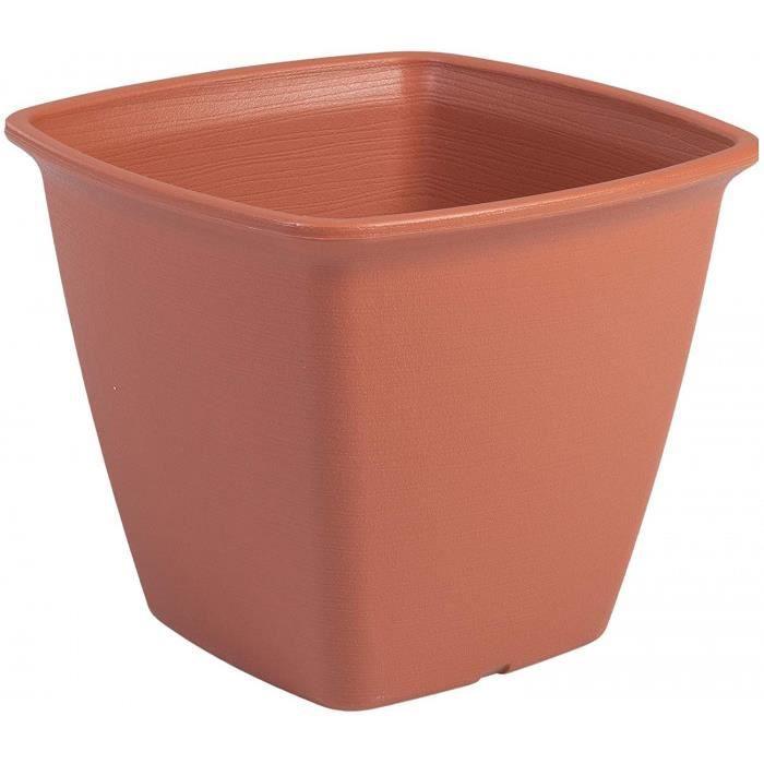 t De Fleur Carré À Réserve D'Eau - Square Plant Pot - 300, Plastique, Brun, Medium, 30 X 30 X 25,3 Cm- Taille: Medium Version: Brun