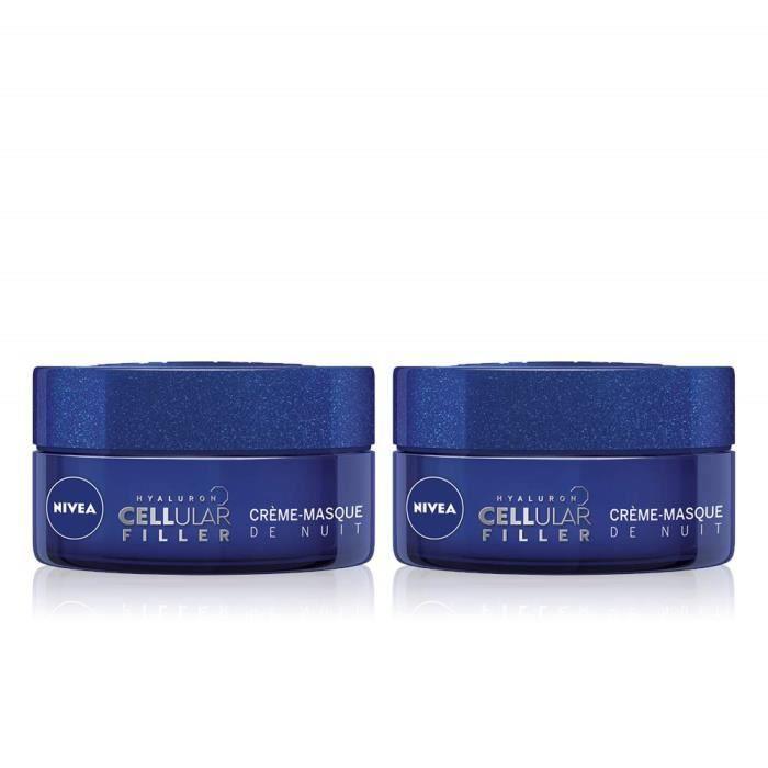 NIVEA Hyaluron Cellular Filler Crème-Masque de Nuit (2x50ml), crème anti-âge enrichie en Acide Hyaluronique, crème hydratante, so