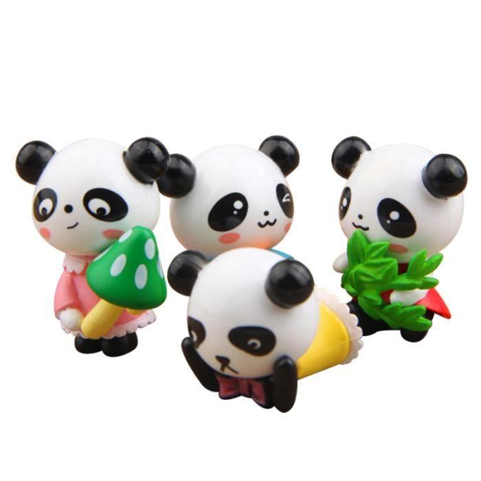 8 pièces ornement créatif dessin animé adorable panda en plastique jardin décor mousse Micro paysage STATUE - STATUETTE