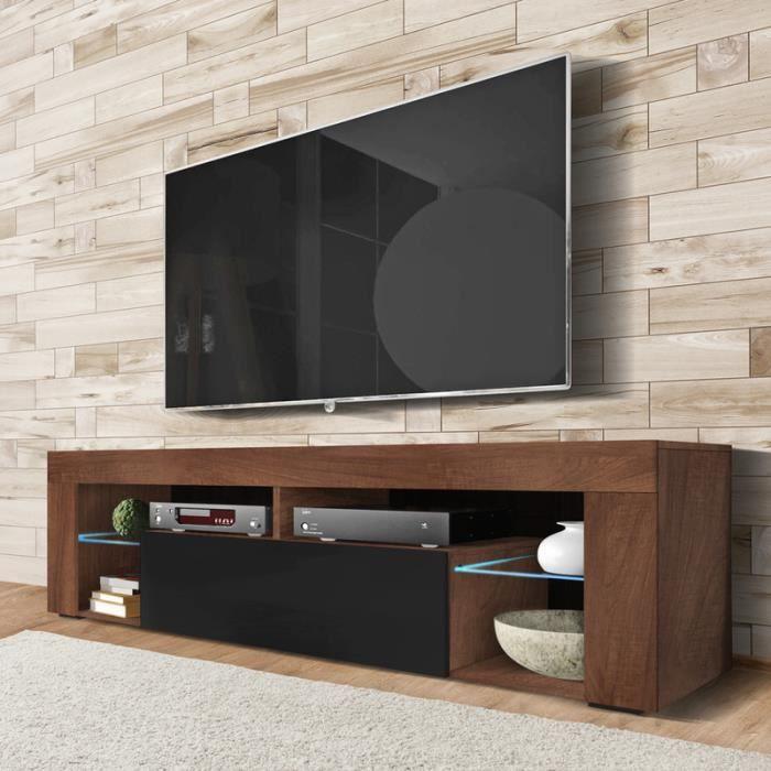 Meuble TV / Banc TV - BIANKO - 140 cm - chêne caravaggio / noir brillant - avec LED - style moderne - tablettes en verre