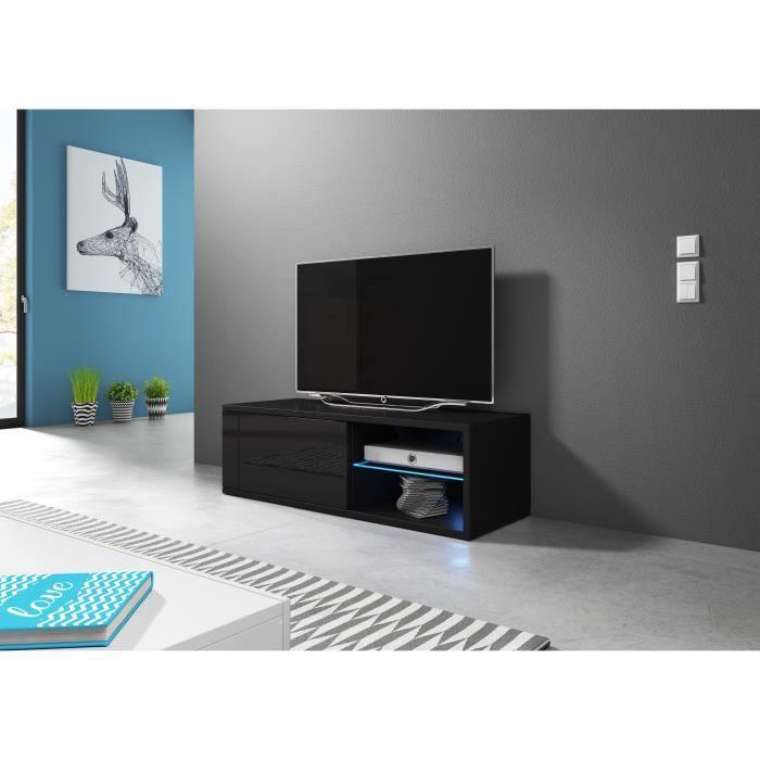 Meuble TV moderne Azalia LED NOIR/NOIR BRILLANT 100cm