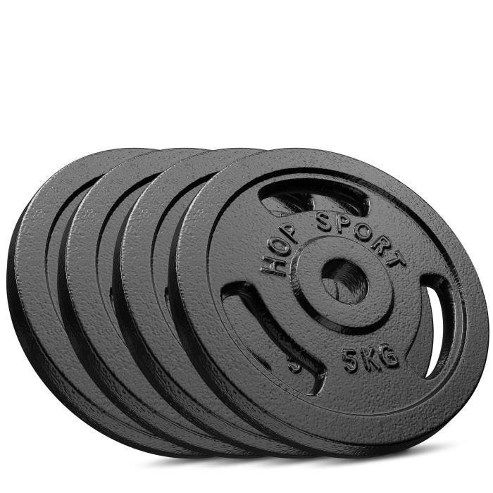Poids Hop-Sport disques en fonte 20 kg (4 x 5 kg)