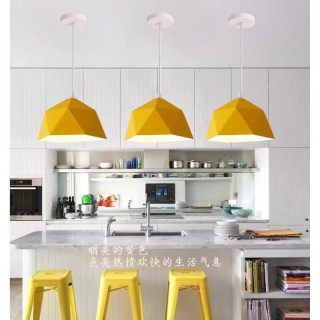 YA*1PCS Lustre Suspension Luminaire Jaune Moderne Lampe Lustre en Fer pour Cuisine Salon