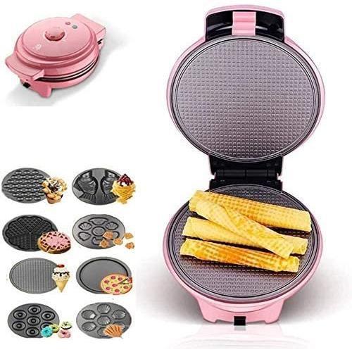 GAUFRIER GCE Gaufrier Donut Maker Brownie Snack Maker avec plaques antiadheacutesives Amovibles 8 en 1 de Plateaux de Cuisson te584