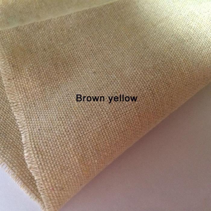 Tissus,Peinture Vintage, toile de coton et lin de chanvre, toile de jute pour couture, tissu - Type Brown yellow - 100cmx150cm