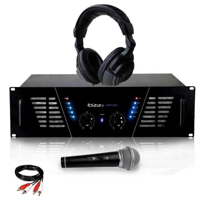 Amplificateur sono Dj 2 x 600W Max IBIZA SOUND AMP-800 + Casque Audio + MICRO et Câble RCA de liaison