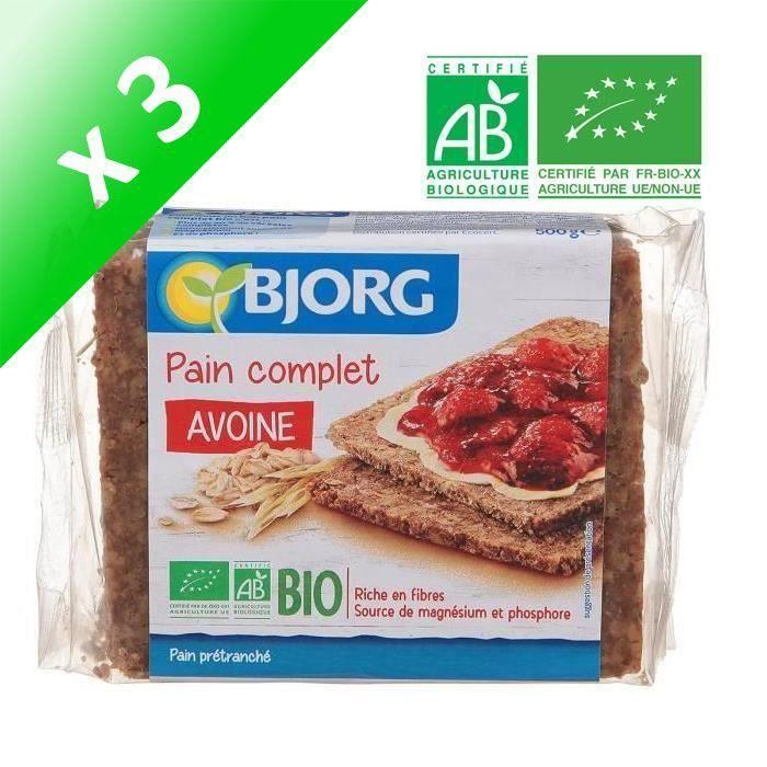 BJORG Pain Complet Avoine Bio (Lot de 3x 500 g)