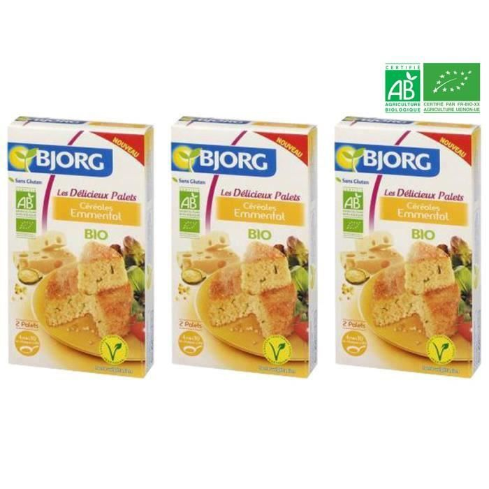 [LOT DE 3] BJORG Palets Céréales Emmental Bio 200g