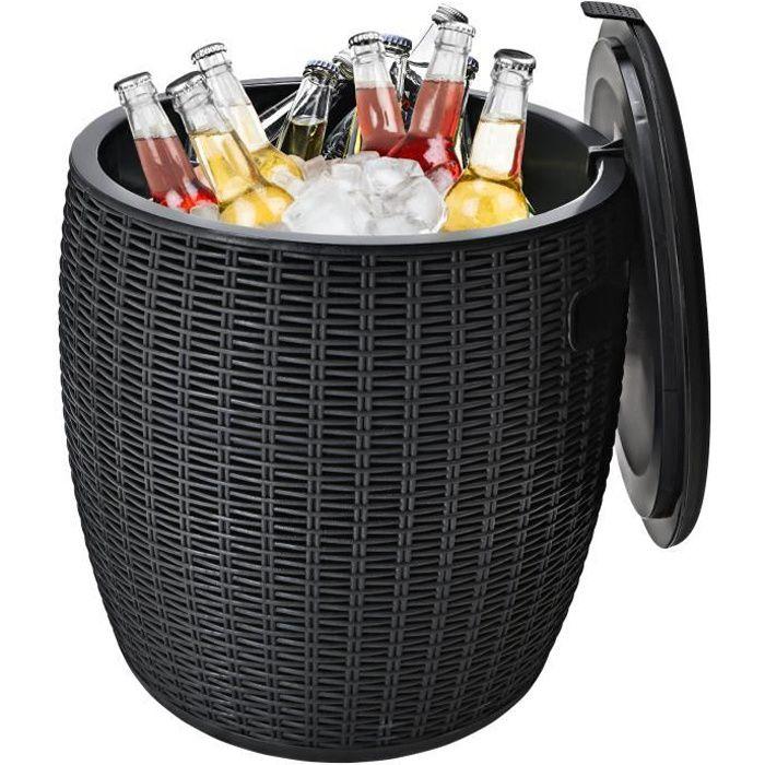 COSTWAY Cool Bar avec Table pour Terrasse 45L Dia.38 x 43CM avec Couvercle,Poignées Latérales et Boucle Charge 150 KG