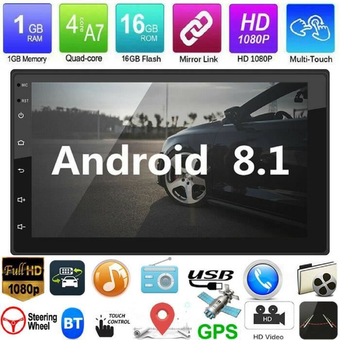 DIY MORE Android 8.1 Autoradio Bluetooth Navigation GPS 7 - Double Din Voiture Stéréo Audio Lecteur MP5 USB FM