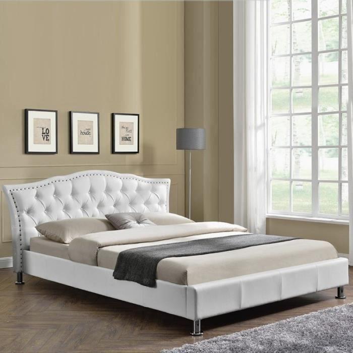 Lit capitonné Milano - 160x200 - Blanc
