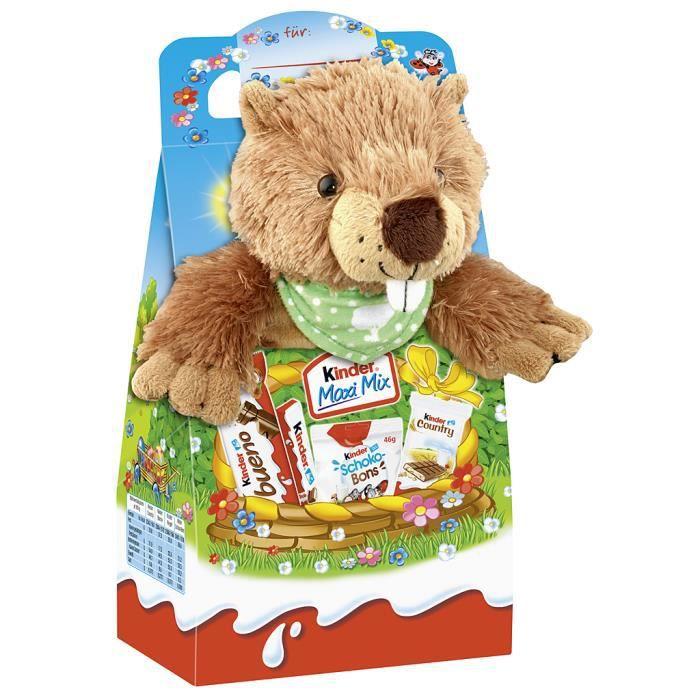 Ferrero Kinder Maxi Mix -Castor- animal en peluche Pâques 133g