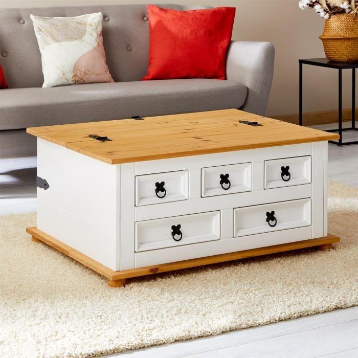 Table basse de salon TEQUILA coffre malle de rangement rectangulaire en bois style mexicain 5 tiroirs pin massif lasuré blanc brun