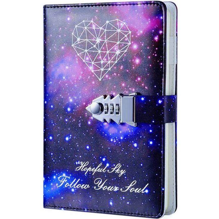 Journal intime fille, Ciel étoilé Carnet de Notes, Cahier Journal Bloc-notes Secret en PU Cuir Pour Bureau, Taille 215x150mm
